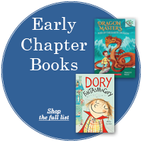 """Blue circle with white text """"Early Chapter Books"""" with two book covers off center to the right"""