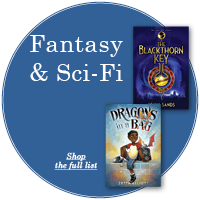 """Blue circle with white text """"Fantasy and Sci-Fi"""" with two book covers off center to the right"""