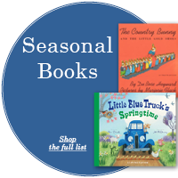 "Blue circle with white text ""Seasonal Books"" with two book covers off center to the right"