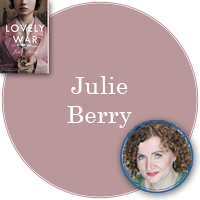 Julie Berry in pink circle with cover of Lovely War in top left corner and photo of Julie in bottom right corner