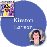 Kirsten Laron in periwinkle circle with cover of A True Wonder in top left corner and photo of Kirsten in bottom right corner