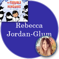 Rebecca Jordan-Glum in purple circle with cover of The Trouble with Penguins in top left corner and photo of Rebecca in bottom right corner