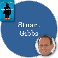 Stuart Gibbs in blue circle with cover of Spy School in top left corner and photo of Stuart in bottom right corner