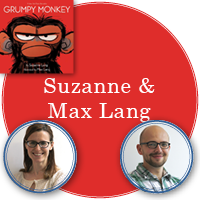 Suzanne and Max Lang in red circle with cover of Grumpy Monkey in top left corner. A photo of Suzanne is in bottom left corner and a photo of Max is in bottom right corner