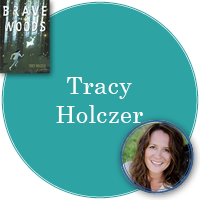Tracy Holczer in turquoise circle with cover of Brave in the Woods in top left corner and photo of Tracy in bottom right corner