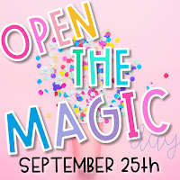Open the Magic logo in rainbow text over a background of pink confetti
