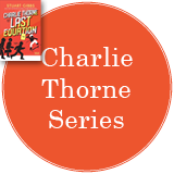Charlie Thorne Series in a bright red circle with the cover of Charlie Thorne and the Last Equation in the top left corner