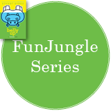 FunJungle Series in a bright green circle with the cover of Belly Up in the top left corner