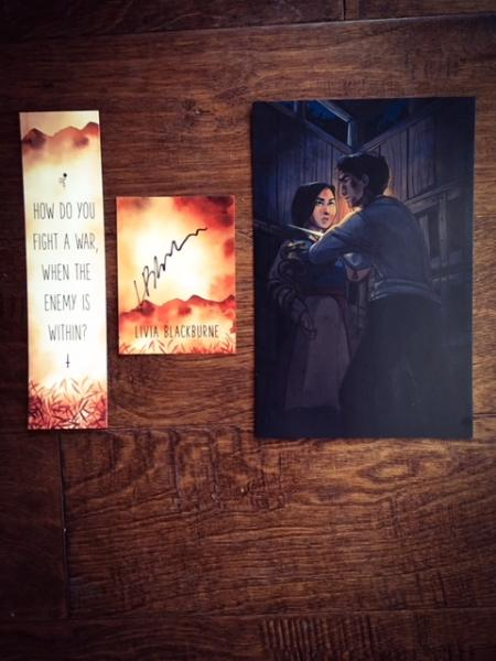 Umbertouched by Livia Blackburne preorder swag bookmark, signed bookplate, and a Zivah and Dineas print