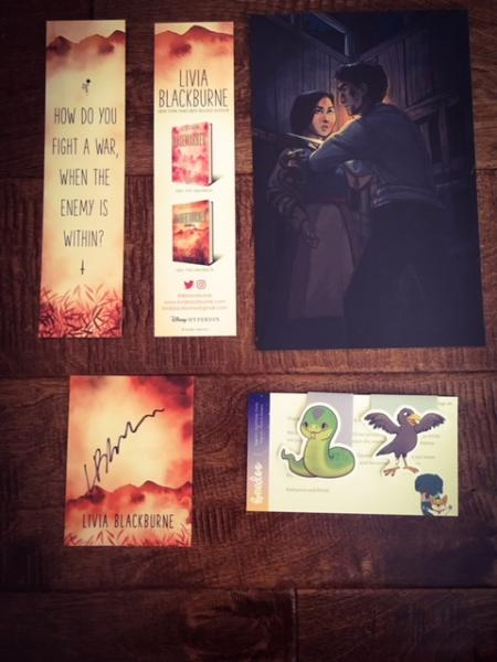 Umbertouched by Livia Blackburne pre-order swag bookmark, signed book plate, Diadem and Scrawny magnetic bookmarks, Zivah and Dineas art print, and signed first edition book