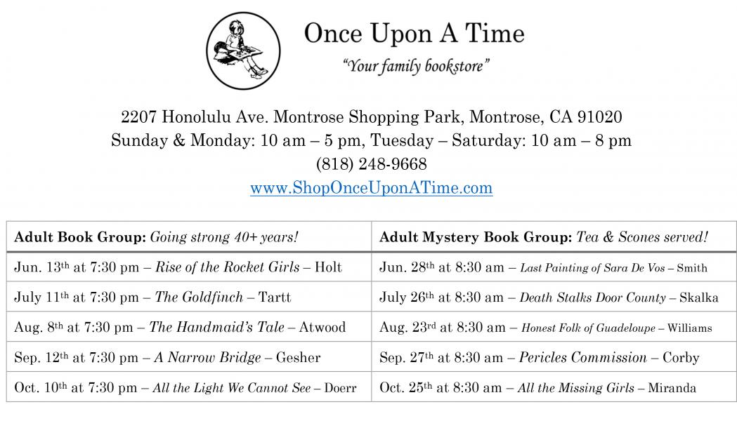 Once Upon A Time Bookclub picks and schedule for June through October 2017