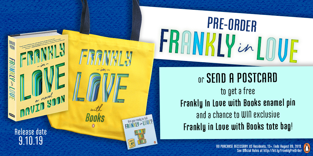 Pre-order Frankly in Love or send a postcard to get a  free Frankly in Love with Books enamel pin and a chance to WIN exclusive Frankly in Love with Books tote bag!