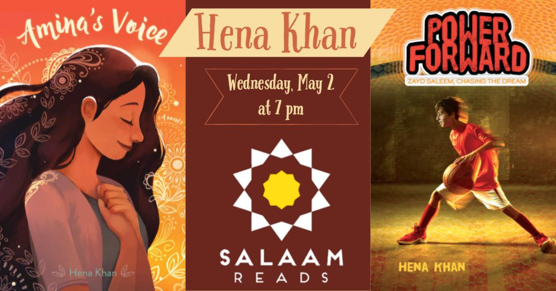 Hena Khan signing Power Forward on Wednesday, May 2nd at 7 pm