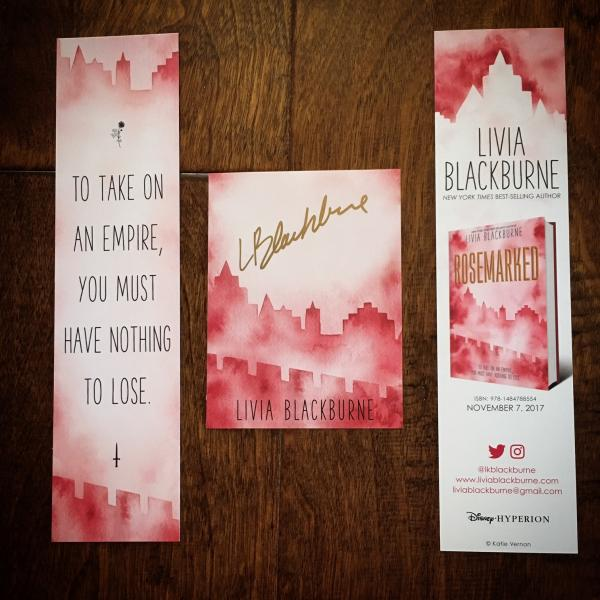 Rosemarked pre-order exclusive swag bookmark and signed bookplate