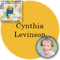 Cynthia Levinson in yellow circle with cover image of People's Painter in top left.