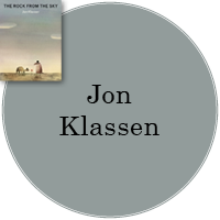 Jon Klassen in gray circle with cover image of The Rock from the Sky in top left.