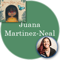 Juana Martinez-Neal in green circle with cover image of Zonia's Rain Forest in top left with photo of Juana (c) Jade Beall in bottom right.