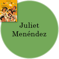 Juliet Menéndez  in green circle with cover image of Latinitas in top left.