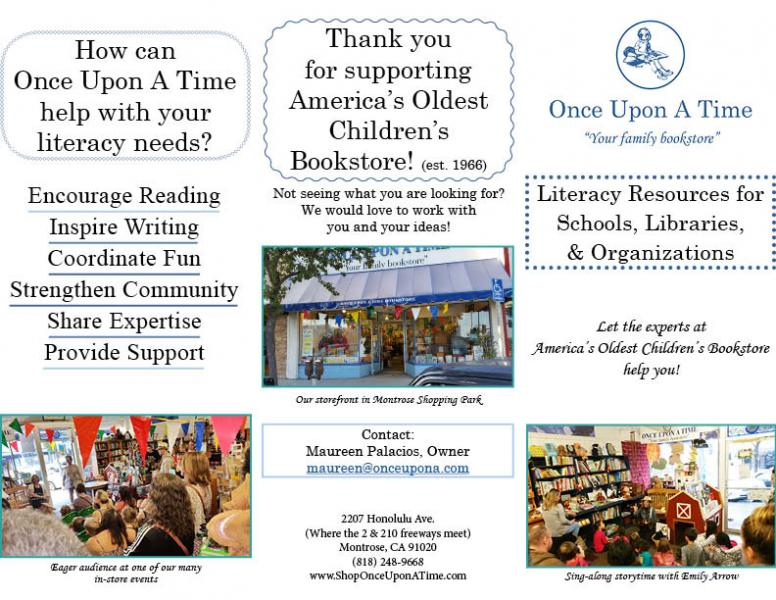 Literacy Resources for Schools, Libraries, & Organizations Brochure from Once Upon A Time Bookstore