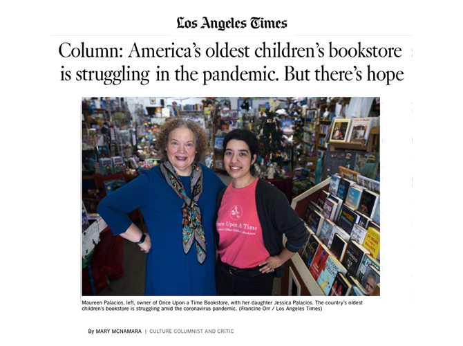 Screenshot of Los Angeles Times Column: America's oldest children's books is struggling in the pandemic. But there's hope by Mary McNamara