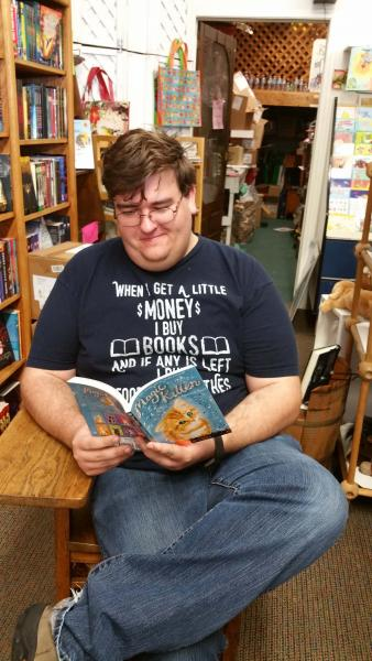 Pete Reading the Best Book at Once Upon A Time Bookstore
