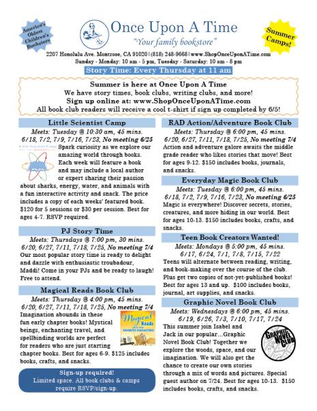Summer 2019 Activities for Babies, Kids, and Teens at Once Upon A Time Bookstore