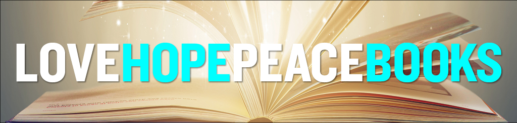 Love Hope Peace Books over an open book with sparkles coming from the center